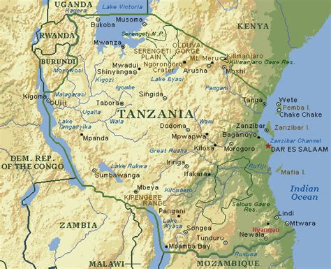 5 themes of geography tanzania geographic location