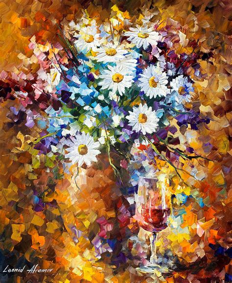 Painting With Flowers by White Flowers Palette Knife Painting On Canvas By