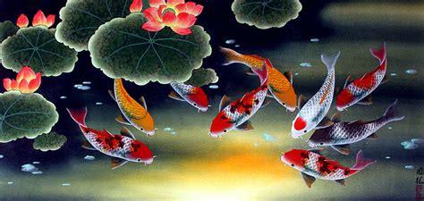 Lukisan Ikan Koi 9 Feng Shui Pembawa Keberuntungan Kekayaan V 80x60 rudy dewanto arti lukisan menurut feng shui
