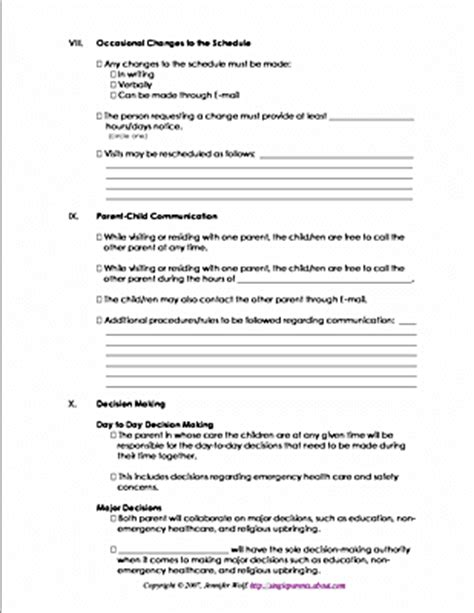 co parenting calendar template parenting plan worksheets for coparents