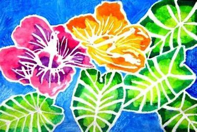 batik design with glue flower design drawn with glue the wet on wet watercolor