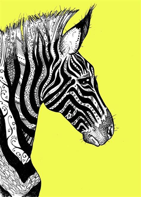 zebra pattern artwork tattooed zebra print 1 on bright yellow