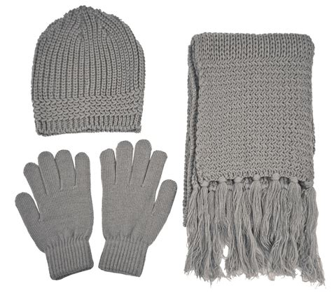 Knitting Pattern Hat Scarf Gloves | knitted winter set beanie gloves and scarf high