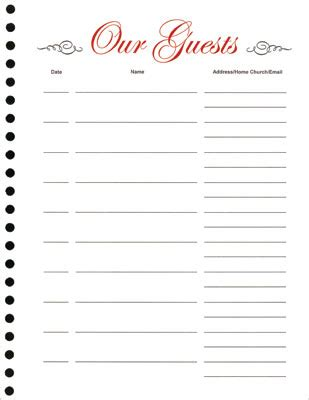 Guest Book Refill Sheets Pkg Of 25 Guest Book Template