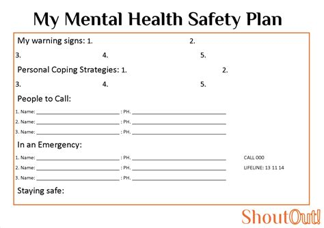 mental health safety plan pdf bing images