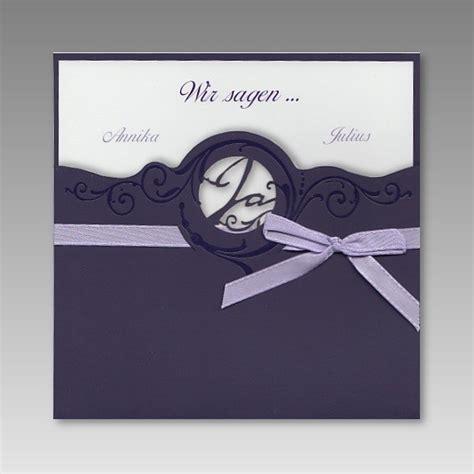 Einladung Hochzeit Lila by Einladung Zur Hochzeit Mit Ausgestanztem Ja In Lila