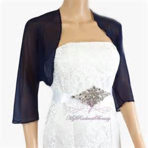 bridal navy blue chiffon jacket wedding bolero jacket
