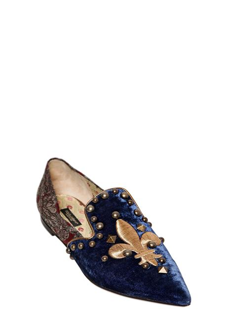 dolce and gabbana loafers dolce gabbana embroidered velvet and brocade loafers in