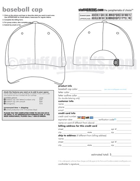 Baseball Cap Template Baseball Order Form Template