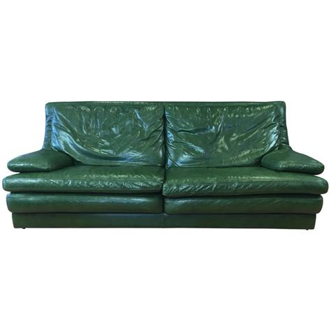 green vintage sofa vintage roche bobois green leather sofa and lounger at 1stdibs