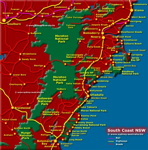 map of nsw australia south coast map nsw