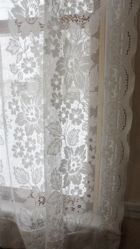 jcpenney lace curtains vintage lace 84 curtain pair jc penney shabby chic white curtains