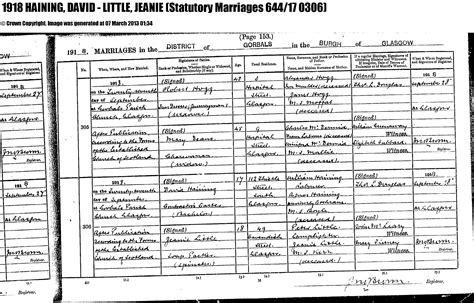 Glasgow Marriage Records Hainings And Related Families