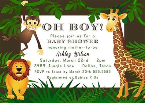 Jungle Themed Baby Shower Invitations by Safari And Jungle Theme Baby Shower Baby Shower Ideas