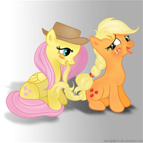 fluttershy and applejack by martybpix on deviantart