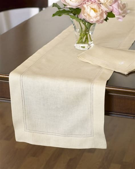 hemstitched linen table runner traditional table