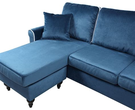 Traditional Small Space Velvet Sectional Sofa With Blue Sectional Sofa With Chaise