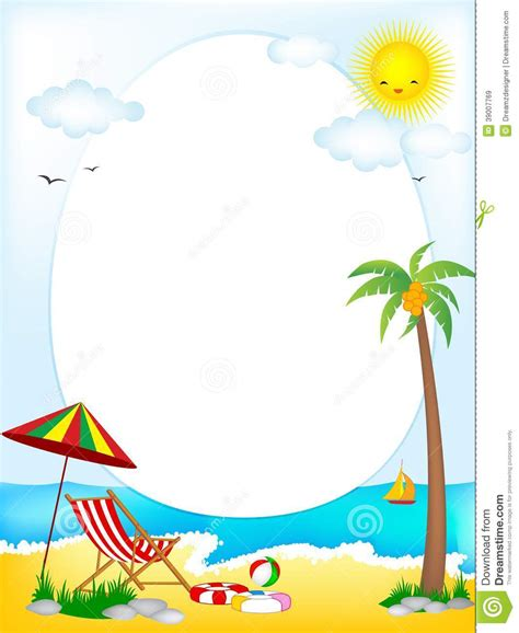 sailboat umbrella tropical beach oval frame stock vector image 39007769