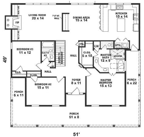 1500 Sq Ft House Floor Plans One Story House Plans 1500 Square 2 Bedroom Square 3 Bedrooms 2 Batrooms On 1