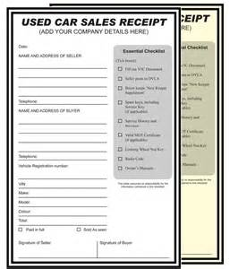 Ebay Car Sale Template Used Car Sales Receipt Personalised Printed A4 2 Part Ncr