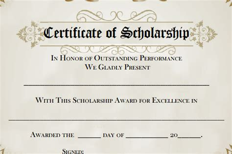 scholarship award certificate template free 9 scholarship certificate templates free word pdf