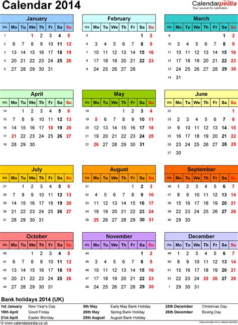 2014 Calendar Template Uk calendar 2014 pdf uk 15 printable templates free