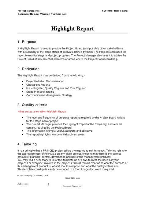 prince2 highlight report template prince2 highlight report hashdoc