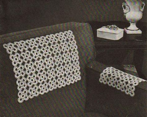 Crochet Pattern For Armchair Covers by Crocheted Chair Set Motif Square Vintage Chairsets