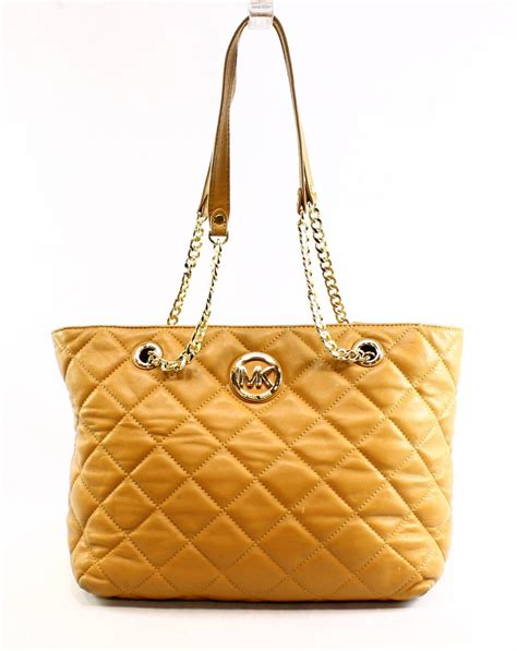 michael kors beige fulton quilted leather s tote