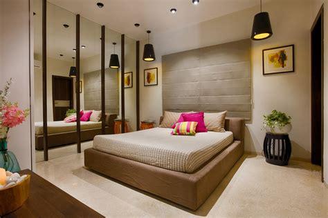 fuchsia elements  beige master bedroom  mirror wall