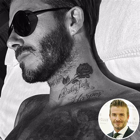 david beckham adds a rose tattoo to his ever growing neck