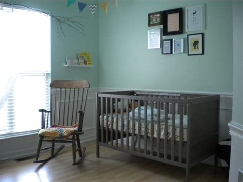 Grey Brown Crib by Aqua Walls With Sundvik Crib In Gray Brown Nursery