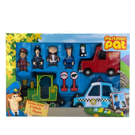 bm christmas b m postman pat friction 3 vehicle playset 271613 b m