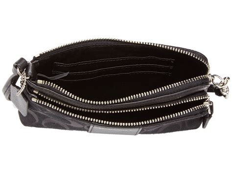 Coach Wristlet 2zip Black coach legacy signature zip wristlet silver black black shipped free at zappos