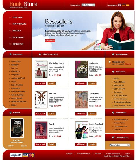 Book Store Oscommerce Template 22635 Photo Book Website Template