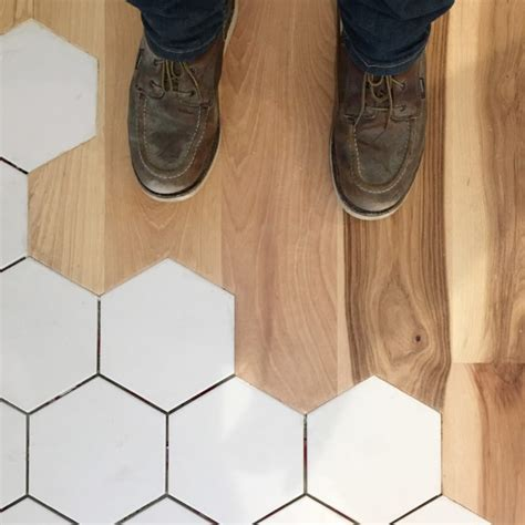 tile to wood floor transition transitioning to hexagon floor tile can be a bit tricky