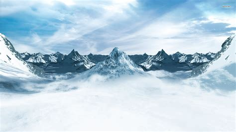 Cloud Wants Snow snowy mountains wallpaper