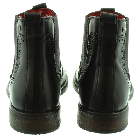 base mens southwark brogue ankle boots in all black