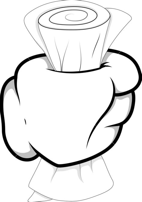 Cartoon Hand - Holding Paper - Vector Illustration Royalty