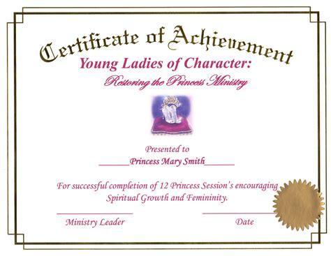 princess certificate of completion
