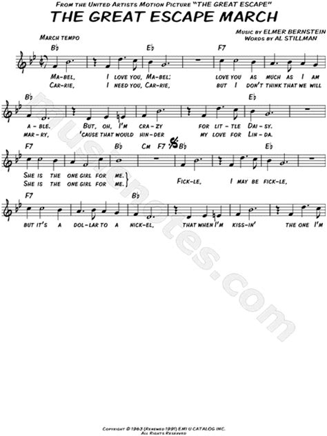 theme music great escape quot the great escape march quot from the great escape sheet