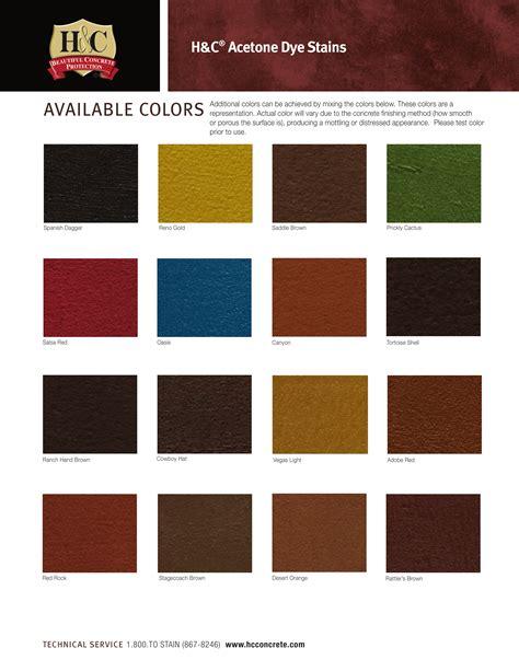 h c concrete stain colors h c concrete dyes color chart