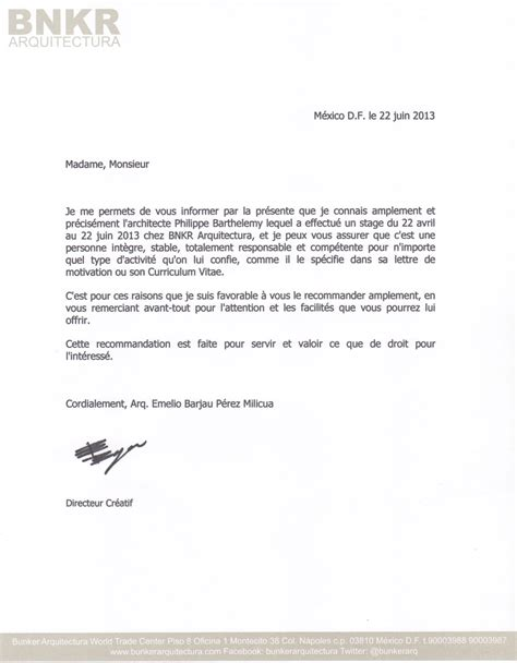 Lettre De Recommandation Rédaction Lettre De Recommandation De Bnkr Arquitectura Philippe Barthelemy