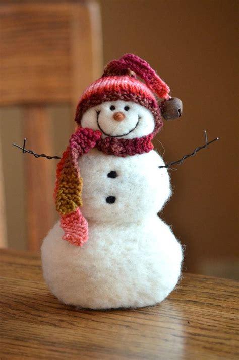 Handmade Snowmen - snowman handmade needle felted wool snowmen