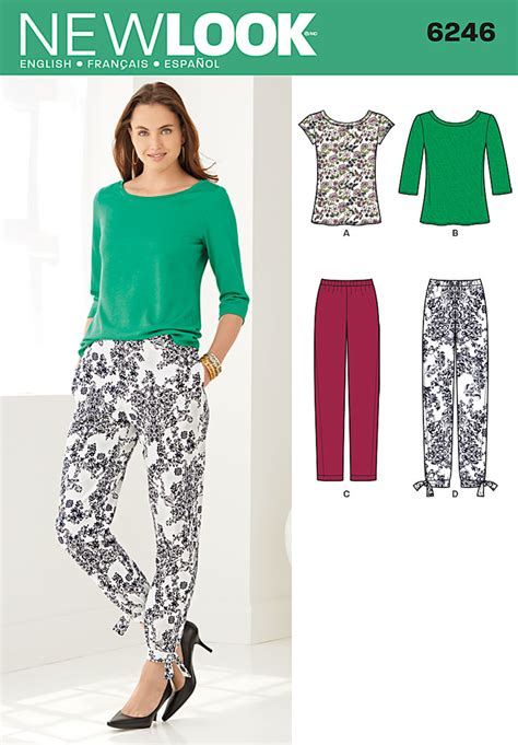 sewing pattern ladies trousers new look 6246 misses tapered ankle pant and knit top