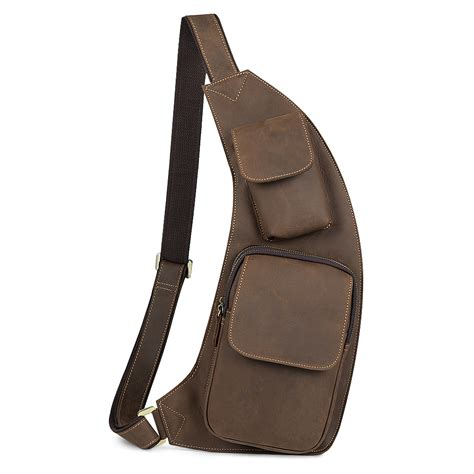 Caylan Shoulder And Sling Bag kattee genuine cow leather cross chest shoulder sling bag
