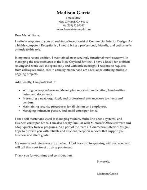 cover letter template receptionist cover letter