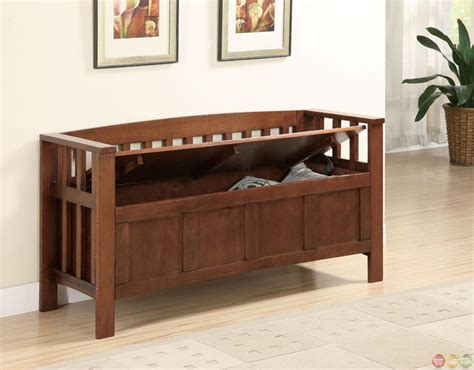 flip top storage bench walnut flip top spacious seating and storage bench
