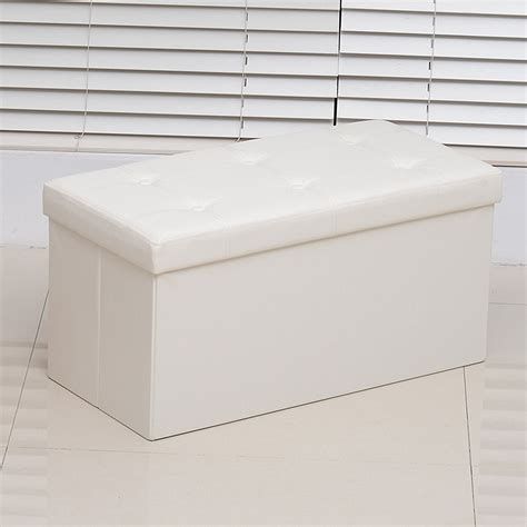 collapsible storage bench ottoman homcom folding storage cube ottoman bench with faux