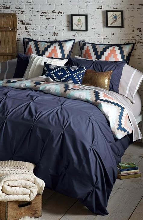 Navy Coral And Metallic Chevron Bed Home Is Where The Heart Is Pinterest Guest